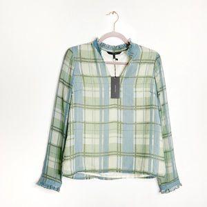 NWT Vero Moda | Green Check Ruffle Blouse